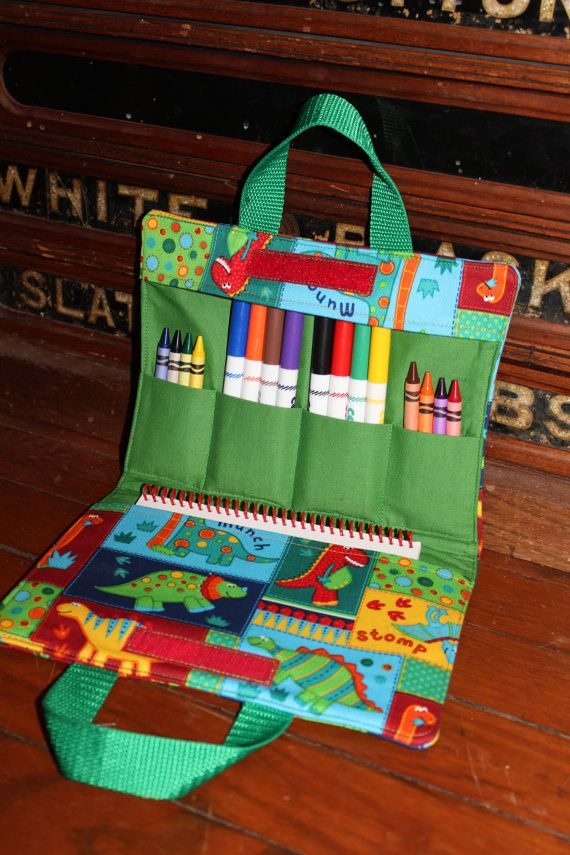 Dinosaurs Squared -Art tote and  Children's Carry All-Travel Art Supply Bag on Etsy, $24.00