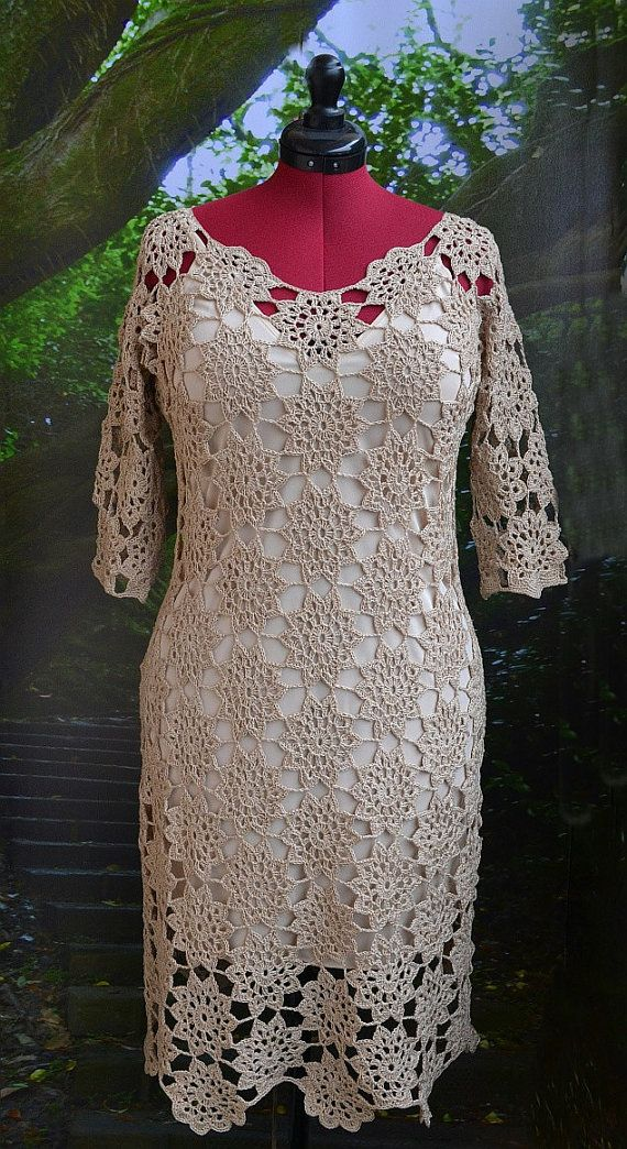 Crochet wedding dress Handmade beige Dress wedding dress