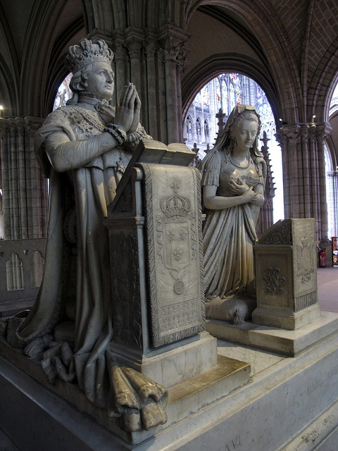 Memorial to King Louis XVI and Queen Marie Antoinette at the  Basilica of St Denis, France