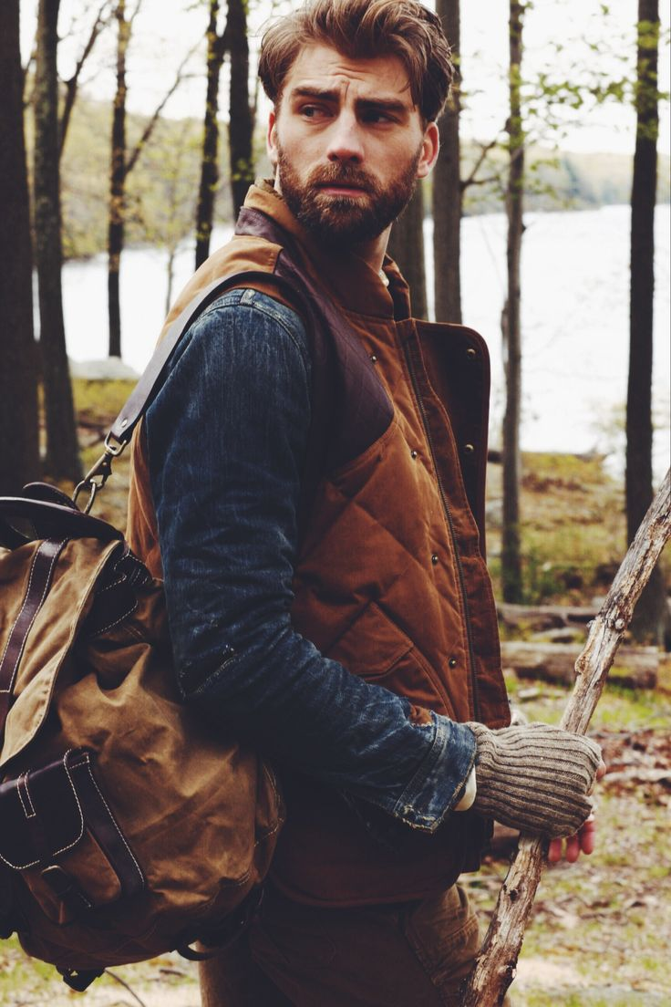 • fashion landscape nature outdoors rustic autumn Denim menswear editorial Scenic beard cowboy Rugged outerwear man's best friend Outdoor Activities style inspiration country living guy with beard weekender casey brooks akita dog fall weather jackets and coats calle strand mgvisual vmagazine •