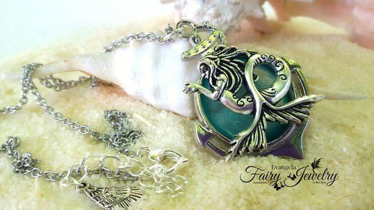 Collana sirena mare resina acqua argentata acciaio anallergica, by Evangela Fairy Jewelry, 15,00 € su misshobby.com