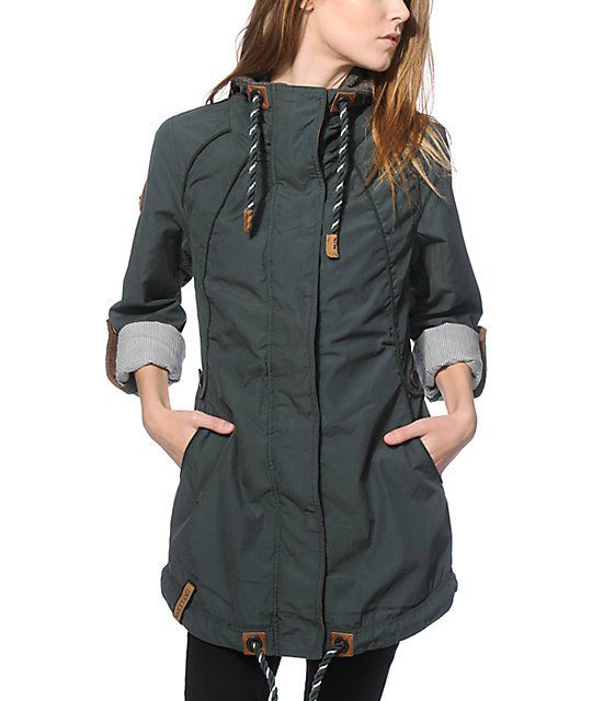 Layer up in style with a heavyweight green twill construction that features green and metallic silver adjustable drawstring collar and hem plus snap button straps to hold up your rolled sleeves to show off the striped lining.