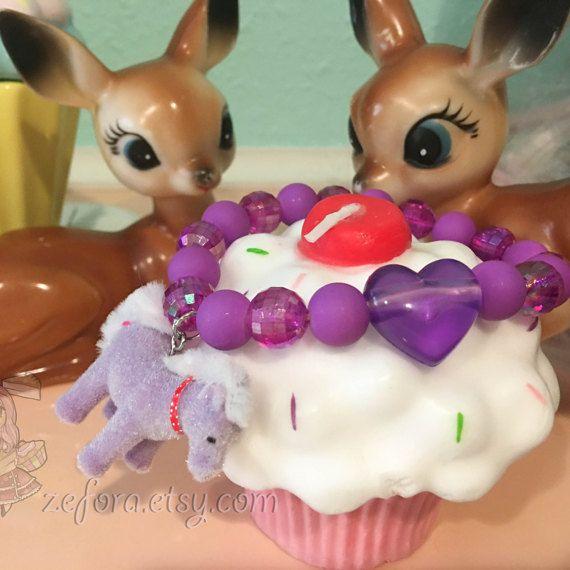 Flocked Purple Pony Charm Stretchy Beaded Bracelet by zefora