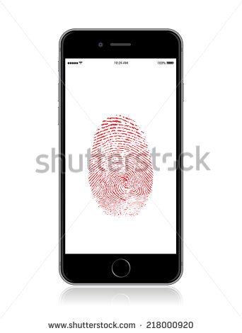 Vector detailed smartphone mock up with security fingerprint on screen./Smart Phone Fingerprint Security/ Smart Phone Fingerprint Security