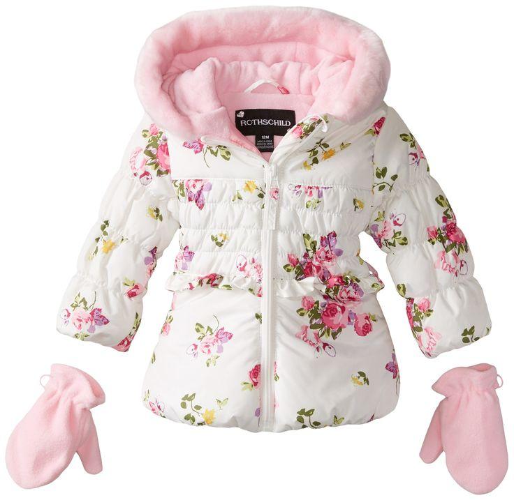 Rothschild Baby Girls Tonal Rose Print Jacket, Rose Floral, 18 Months