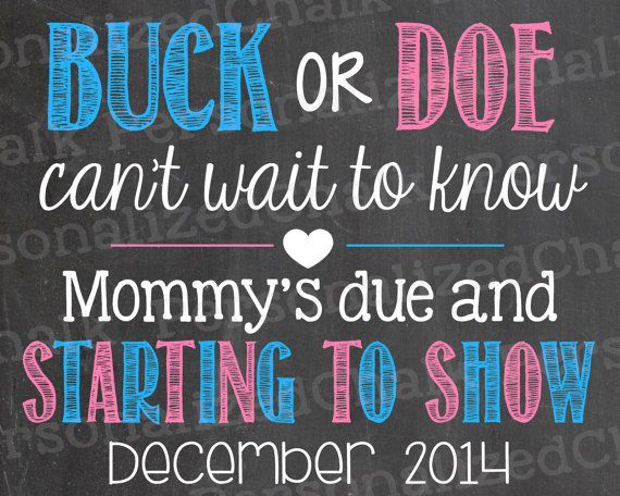 Buck or Doe Hunting Pregnancy Announcement Chalkboard Poster Printable Pregnancy Reveal Boy or Girl Mommy's Due on Etsy, $10.00