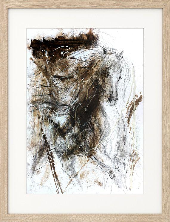 Originele abstracte schets met houtskool tekening, dierlijke kunst, grafische kunst, moderne kunstwerken, Wall Decor, het paard paard kunst aan de muur, expressionisme, galop