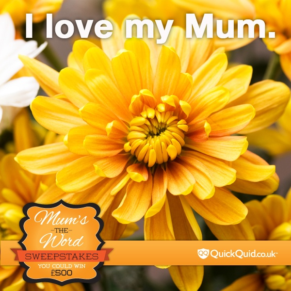 Love your mum?  Repin this to share with your darling mum and friends.  Be sure to fill out our entry form here for a chance to win 500 GBP: http://quickquid.co.uk/mums-the-word