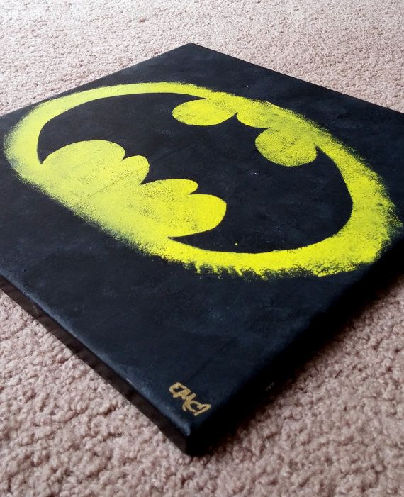 Batman Canvas Painting by ElleiMarie on Etsy