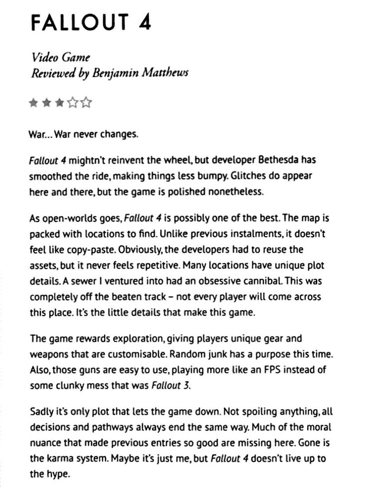 Here's an old review I wrote for Fallout 4. Still haven't decided if I have it the right score. I hate having to give a rating. #Fallout4 #gaming #Fallout #Bethesda #games #PS4share #PS4 #FO4
