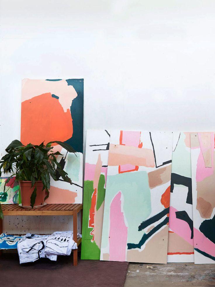 Artworks by Rafaella McDonald in her Brunswick studio. Photo – Eve Wilson for The Design Files.