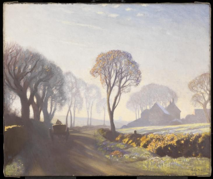 Artwork page for 'The Road, Winter Morning', Sir George Clausen, exhibited 1923