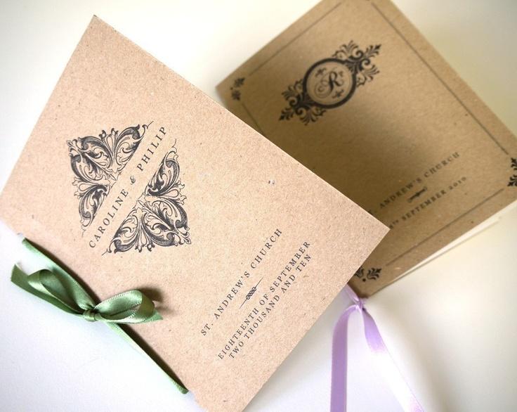Vintage Order of Service Wedding Program - Pocket-Sized Booklet - One Sample. $2.75, via Etsy.