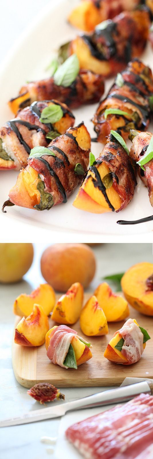 awesome Bacon Wrapped Grilled Peaches with Balsamic Glaze - foodiecrush