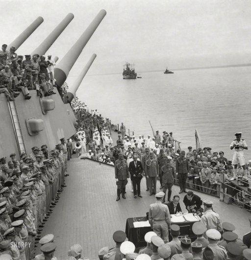 Japan surrenders: Sept. 2, 1945. Signing documents aboard Missouri in Tokyo Bay. http://www.shorpy.com/node/20071?utm_content=bufferf6536&utm_medium=social&utm_source=pinterest.com&utm_campaign=buffer Dave Davis