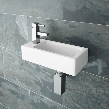 Rondo Wall Hung Small Cloakroom Basin L/H 1TH - 365 x 185mm