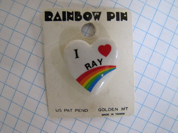 Vintage 1980's Rainbow Pin Heart I Love Ray Brooch by themagickcat