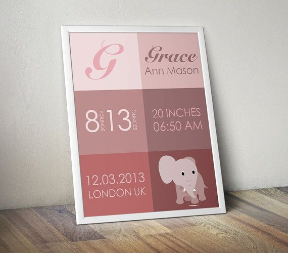 Birth Announcement Wall Art Birth Stats Pink Blue by MummyPic