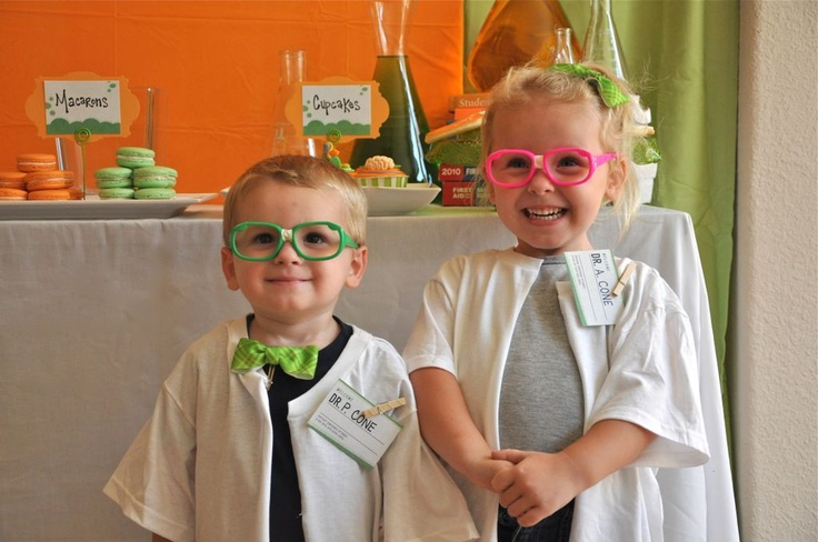 "Kid's mad scientist birthday (use package of adult T-shirts and cut down front for lab coats. Make name tags with ""Professor, Dr, or Scientist ___(child's name)"" give them eye glasses, bow ties, etc"