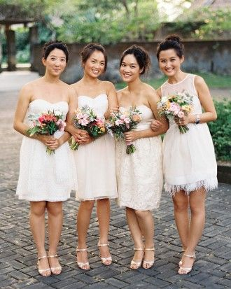 The Bridesmaids are your friends for different reasons, all having a unique personality (and shapes) don't make them wear all the same dresses. Let them pick. It still is lovely.