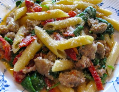 Rita's Recipes: Skillet Penne and SausageSkillets Penne, Hot Italian Sausage Recipe, 12 Recipe, Rita Recipe, Pasta Dinner, Pasta Dishes, Rita S Recipe, One Pan Meals, One Dishes Meals