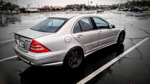 """@RandyR84's C32 AMG. Eurocharged Supercharger Pulleys & ECU/TCU tune; Renntech Exhaust; Pulley Saver kit; Dropped on Bilstein PSS9 coilovers; Full adjustable suspension/control arms; Black 18"""" AMG Monoblock wheels"""