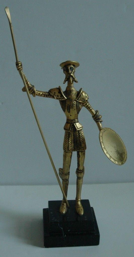 Fabulous Vintage Don Quixote de La Mancha Sculpture Brass on Marble Dore Style