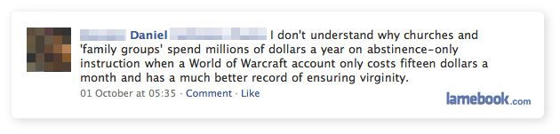 I don't understand why churches and 'family groups' spend millions of dollars a year on abstinence- only instruction when a World of Warcraft account only costs fifteen dollars a month and has a much better record of ensuring virginity.