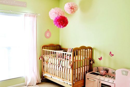 Sweet vintage-inspired nursery:  Cots, Nurseries Decor, Green Wall, Vintage Nurseries, Pom Pom, Green Nurseries, Girls Rooms, Nurseries Ideas, Kids Rooms