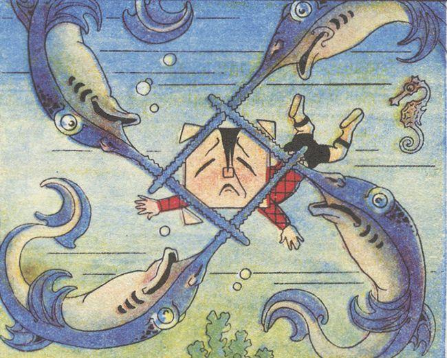 "Antonio Rubino, ""Quadratino"" comic, Corriere dei Piccoli, 1910, panel love the swordfish design.enlarge for better view of swordfish."