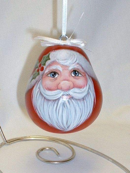 Santa Gourd Tree Ornament Hand Painted Gourd by FromGramsHouse