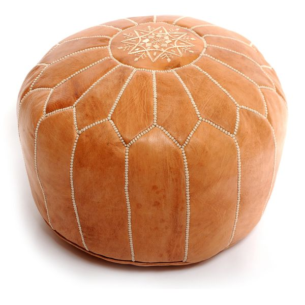 Handcrafted Moroccan Leather Pouf Authentic Ottoman (Morocco)