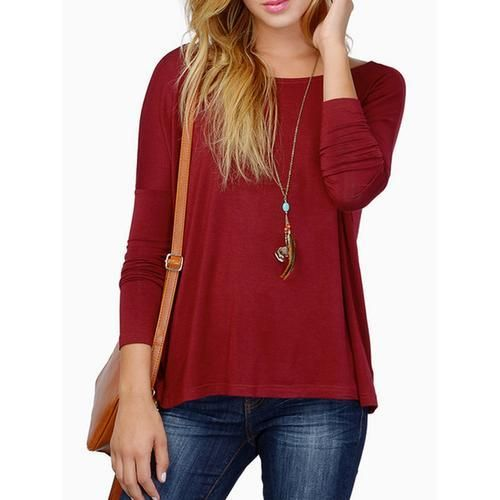 Wine Red Batwing Long Sleeve T-shirt D902-CG0183