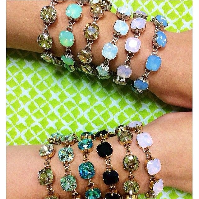 Obsessed!!!!   Especially the mint one....I have to have it in my life!!!   Material Girls, Victoria Lynn Bracelets @Material Girls