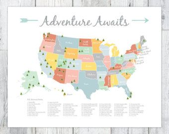 Adventure Awaits Us National Park Map By Perpetualdaydreaming