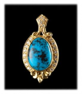 Dendritic Bisbee Turquoise Gold Pendant with Diamonds