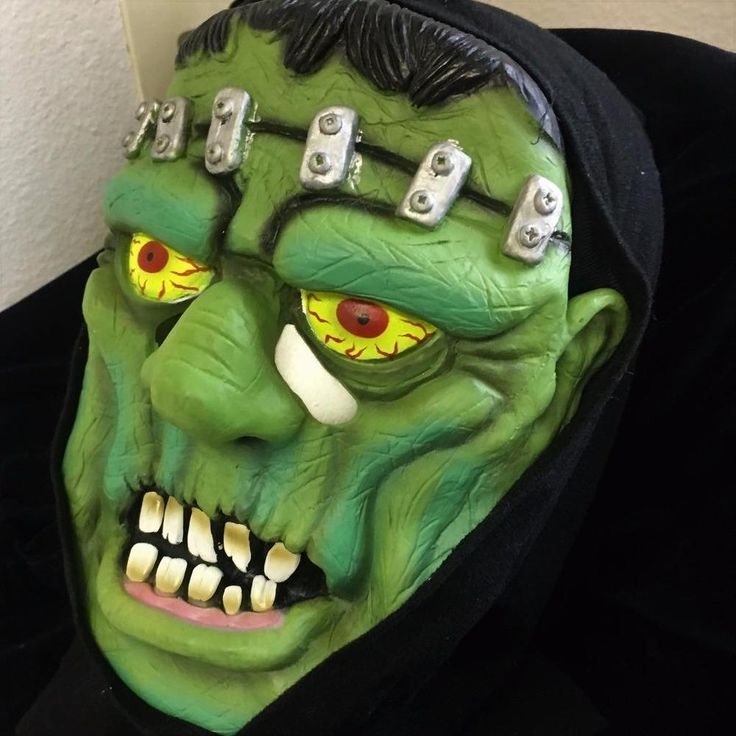 Halloween Black Hooded Monster Mask Green Face Yellow Eyes Bolts Big Teeth