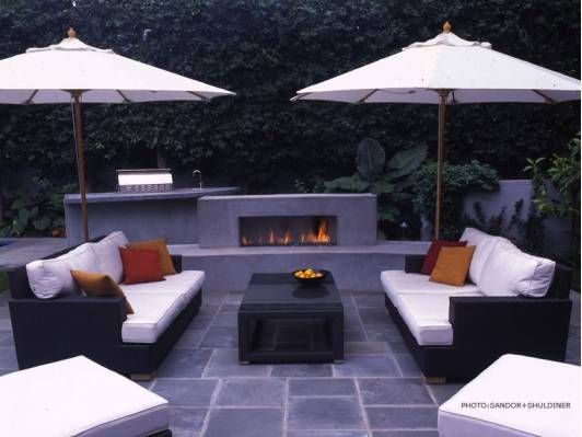 Beautiful. Black. Slate. Patio.  ,,  giant.  Cosy daybeds.  , winter fireplace