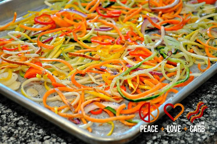 Rainbow Vegetable Noodles - make with Spiral & Slice, Julienne Peeler, Large Bar Pan