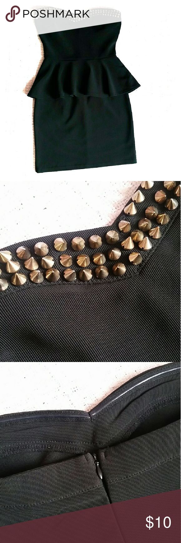 "Strapless Black Peplum Dress *Forever21, tagged Nasty Gal for exposure*  Strapless black peplum dress with ""vintage gold"" round spike studs and hidden zipper closure. Sweetheart bust. Peplum skirt in front and back. No missing studs. Rubber grip on inner bust. Worn only 3x Nasty Gal Dresses Mini"