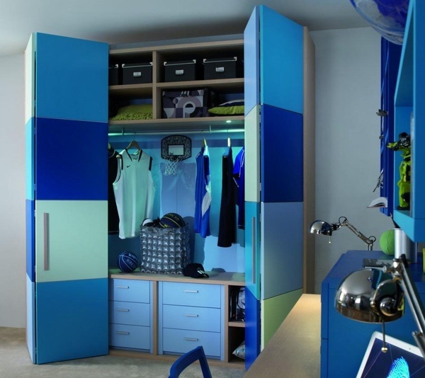 blue tones  closet doors painted in modern squares  closet with fitted  shelving matching colours  Shelving MatchingFitted ShelvingChildrens Bedroom. 1000  ideas about Childrens Bedroom Furniture on Pinterest