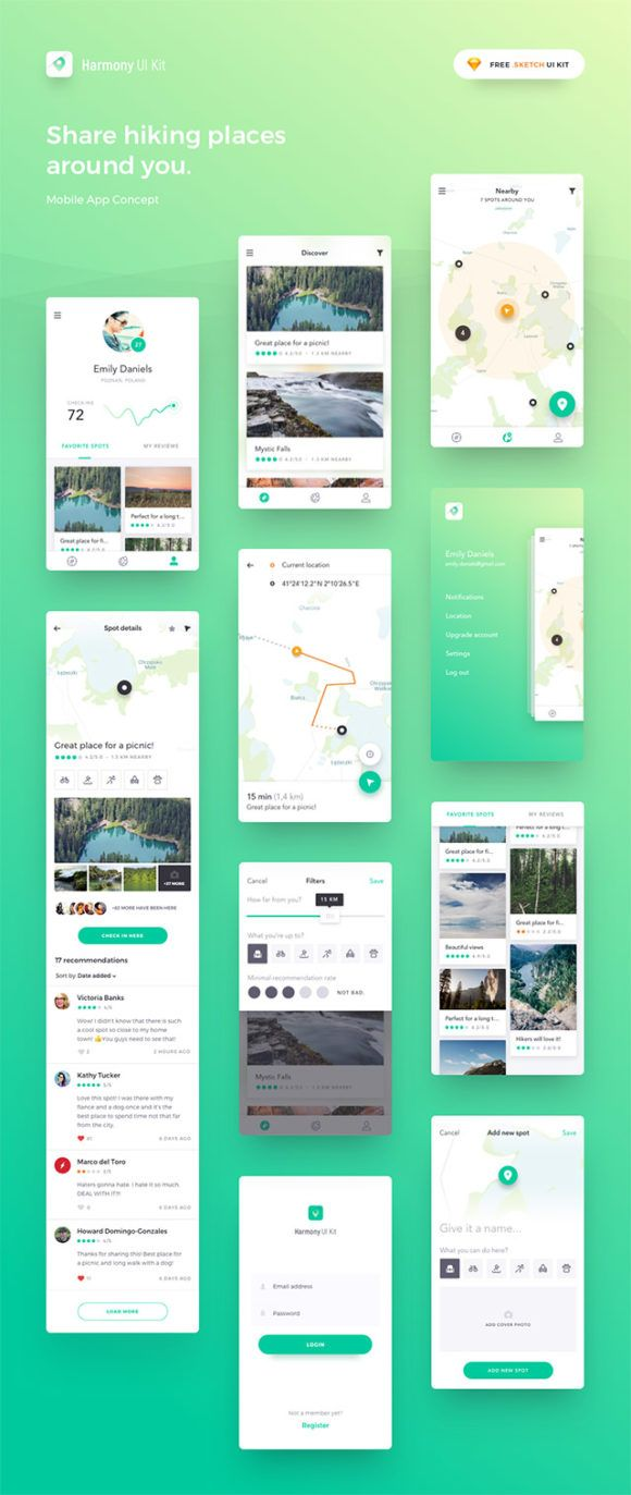 Harmony: Sketch UI kit for map-based apps | Get Free Resources | Ios