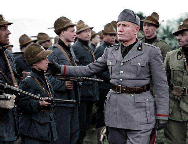 Mussolini reviews the 5th Alpine Mobile Black Brigade, 1945