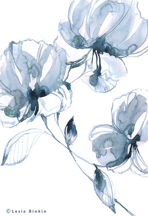 Blue Flickering Flower Paintings Canvas Wall Art Floral Pictures Prints Artwork
