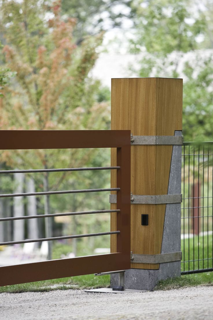 287 best gates fences images on pinterest driveways driveway redesigning the footing to post connection to a concrete to wood transition north cove residence baanklon Images
