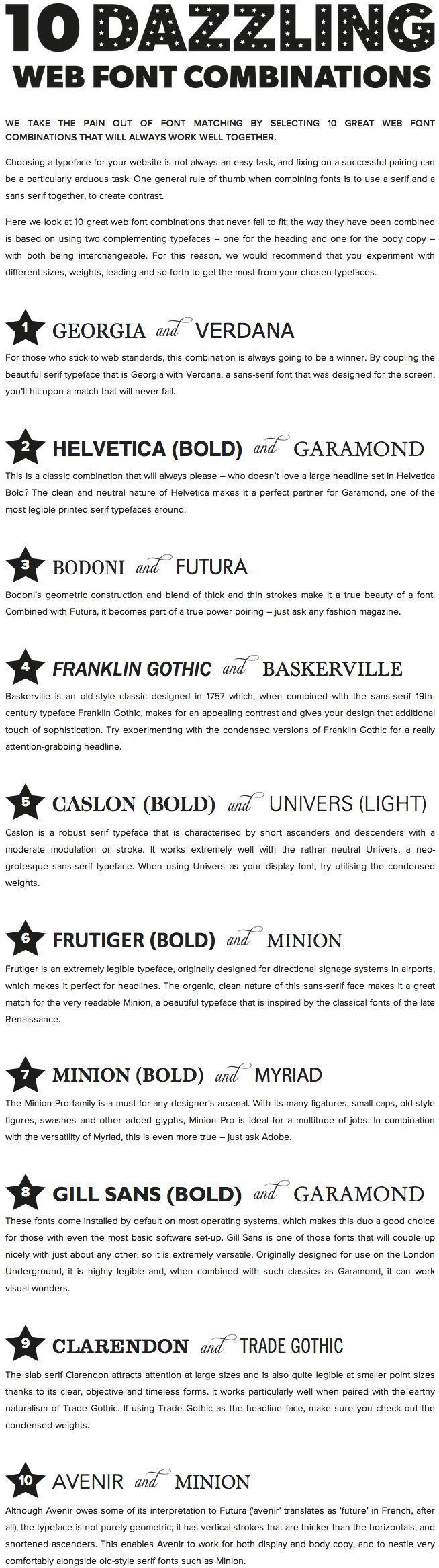 10 Great Web Font Combinations...I like Clarendon and Trade Gothic together (No. 9).