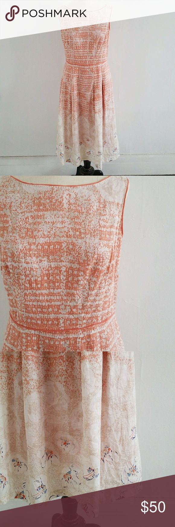 "ELIE TAHARI linen peach and floral sundress This beauty has me dreaming of warmer days!  Peach and cream abstract floral midi dress.  Fitted bodice with pleated skirt.  Pullover with hidden side zipper and hook and eye closure.  100% linen.  In EUC, no flaws.  19"" armpit to armpit  14.5"" flat waist 21.5"" flat Hips 42.5"" total length Elie Tahari Dresses Midi"