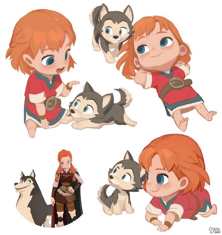 "Adventures of Kayla ""Kayla & Loto's infancy"", Hong SoonSang on ArtStation at https://www.artstation.com/artwork/ByE8D"