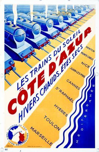 Vintage Railway Poster - Trains to The Cote d'Azur