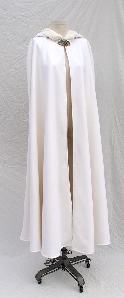 Pale Ivory Wool Broadcloth Cloak with Silk Velvet Lined Hood